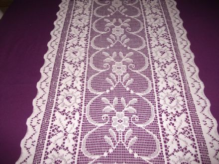Vintage Cotton White Nottingham Lace curtain / tablerunner / fabric- Heather